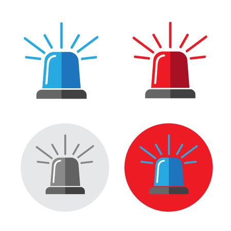 beacon: Police beacon icon set vector illustration
