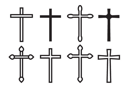 Thin line icons set of crosses. Illustration of crosses