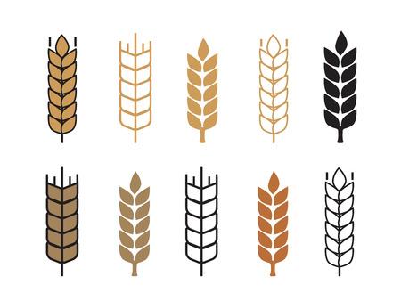 Tarwe oor pictogram instellen vector illustratie Stock Illustratie