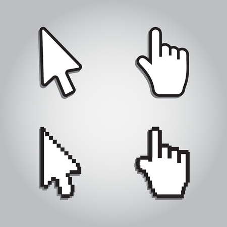 help section: Pixel cursors icons mouse hand arrow Illustration