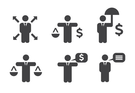 flexible business: Business Policies Icons set illustration