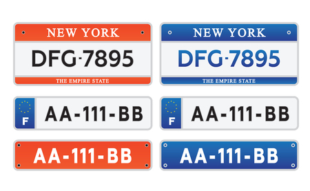 Car kentekenplaten licentie set illustratie