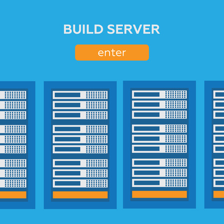 webhosting: Network internet database build server Illustration