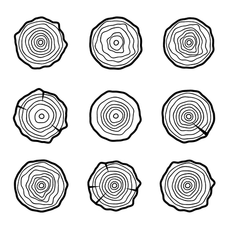 tree rings: Tree rings icons, concept of saw cut tree trunk Illustration