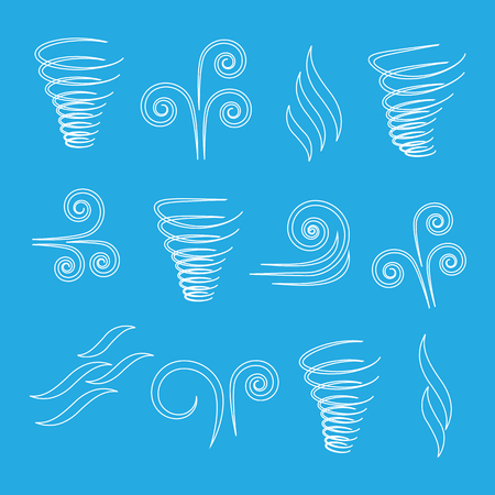 flowing: Wind icons nature, wave flowing