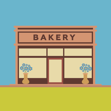 bakery store: Bakery front store building flat style Illustration