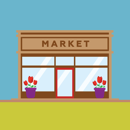 shop keeper: Market front store building flat style Illustration