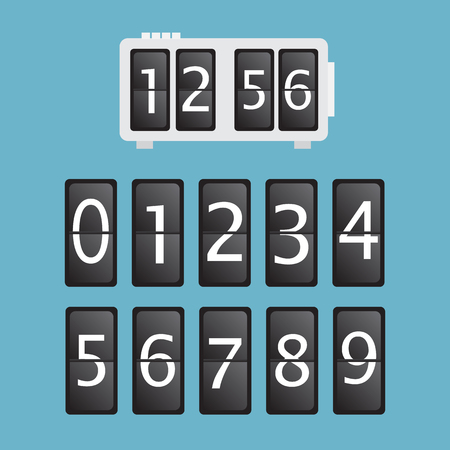 Wall flap counter clock template Illustration