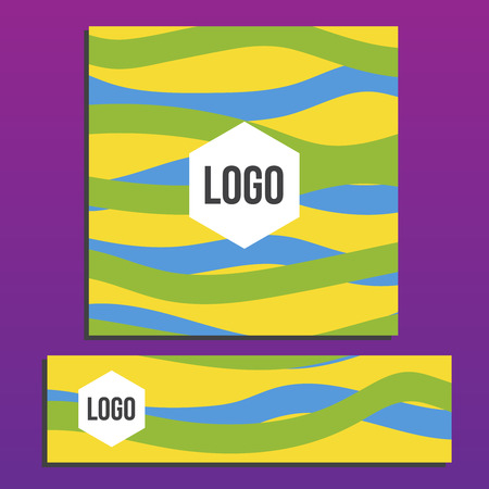 placards: Placards with Web Banner. Summer games. Colors of Brazil. Corporate identity template. Business stationery mock-up with logo. Color background