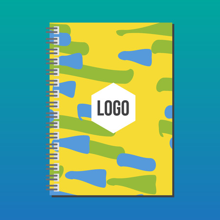 notebook cover: Notebook cover. Summer games. Colors of Brazil. Corporate identity template. Business stationery mock-up with logo. Color background