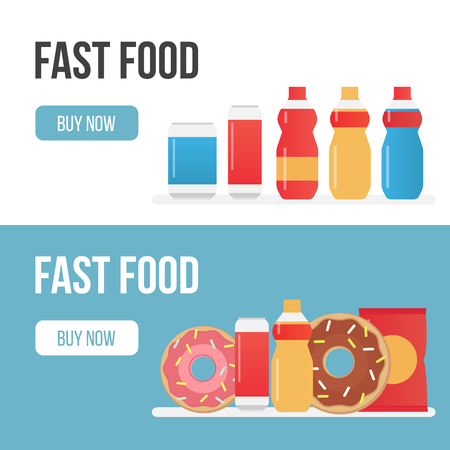 nuggets: Set of banners for theme fast food Illustration