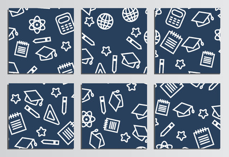 placards: Placards, Posters. Back to school background. Branding template with back to school pattern Illustration