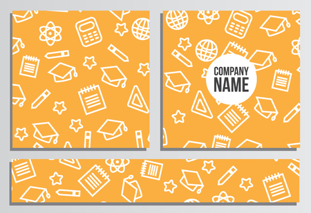 placards: Placards with Web Banner. Back to school background. Branding template with back to school pattern
