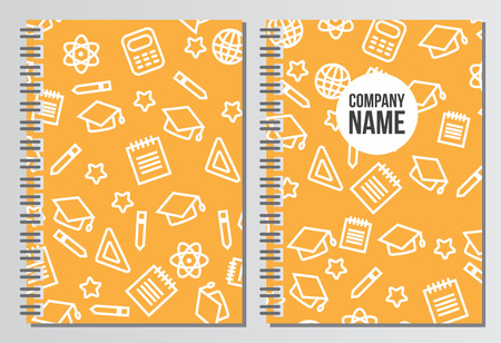 notebook cover: Notebook cover. Back to school background. Branding template with back to school pattern