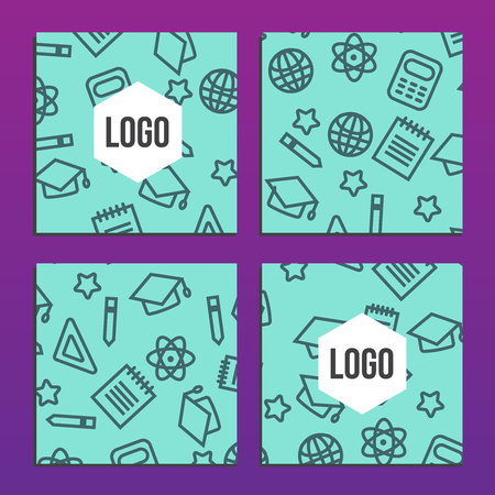 placards: Placards or Posters with back to school pattern. Back to school branding background Illustration
