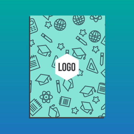 background cover: Blank Cover Of Magazine, Book or Brochure with back to school pattern. Back to school branding background