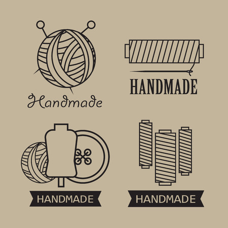 Wool labels and elements handmade stickers Illustration