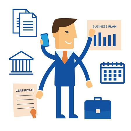 tasking: Businessman with multitasking and multi skill Illustration