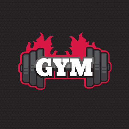 tagline: Gym vector template. Gym 3d icon. Fitness symbol and emblem