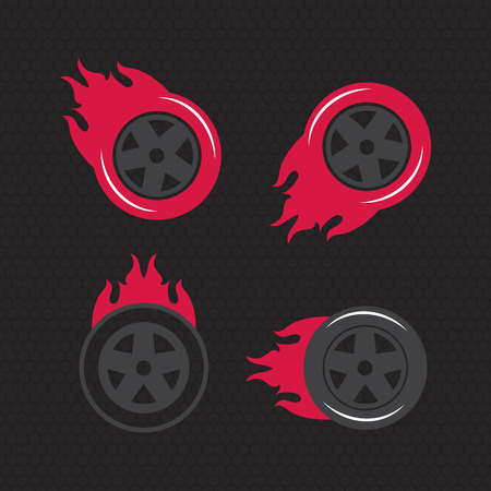 Hot wheel, Racing flat labels set. Blaze and flash