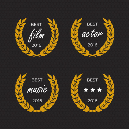laurel leaf: Best award Vector gold award laurel wreath set. Winner label, leaf symbol victory