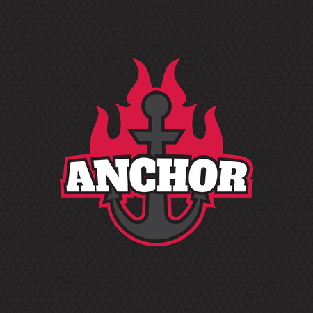 moor: Anchor silhouette isolated vector Illustration
