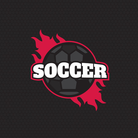 collegiate: Vector soccer league with ball. Sport badge for tournament