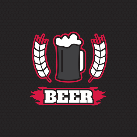 beer house: Vintage retro badge design template for beer house, bar, pub, brewing company
