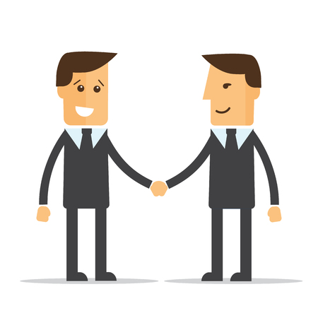 picking up: Businessmen shaking hands. Vector illustration