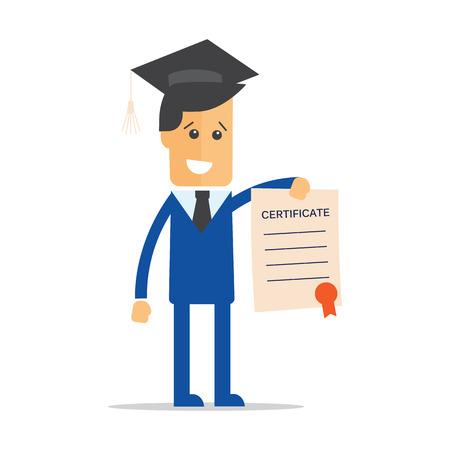 obtaining: Businessman illustration of obtaining degree, diploma of university, college or business school Illustration