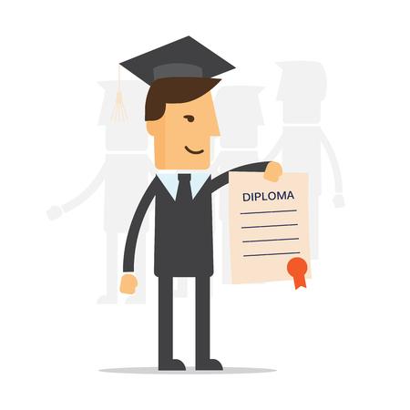 business degree: Businessman illustration of obtaining degree, diploma of university, college or business school Illustration