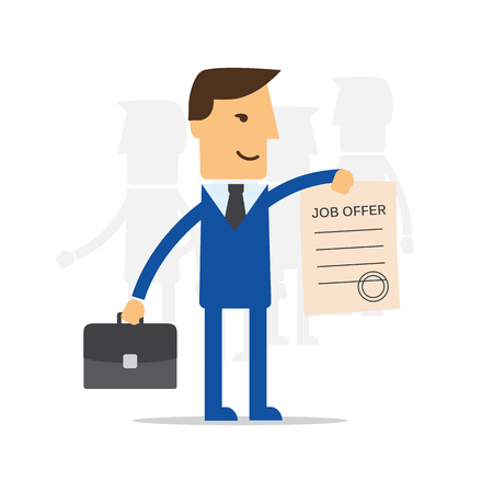 job offers: Manager, employee holds a job offer Illustration