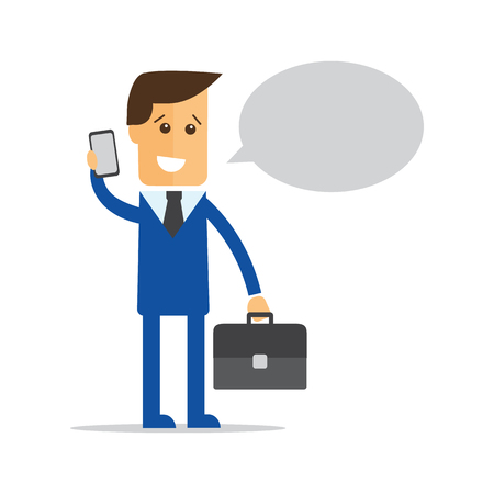 marketer: Businessman, manager with a briefcase in his hand talking on a cell phone