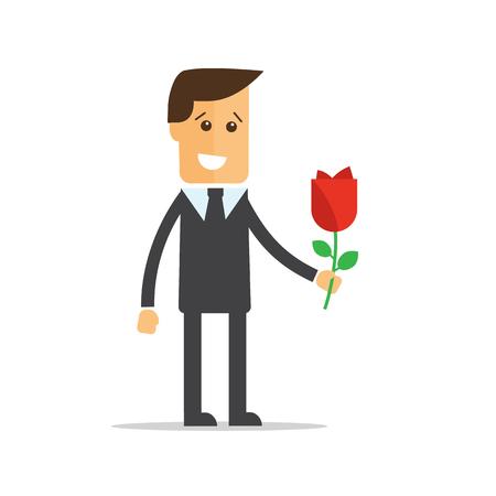 Businessman with flowers. Happy birthday, Valentines Day