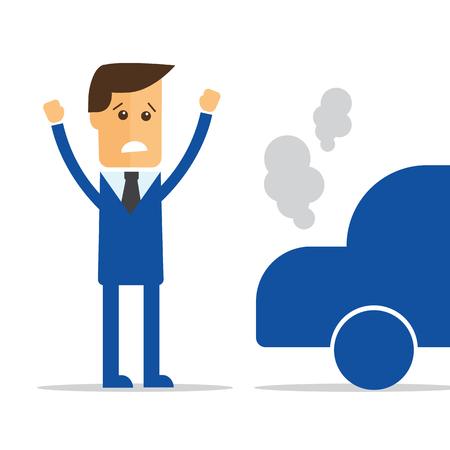 Businessman, car broke down vector Illustration