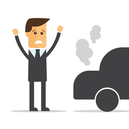 broken down: Businessman, car broke down vector Illustration