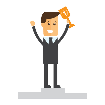 advancement: Successful manager or businessman vector Illustration