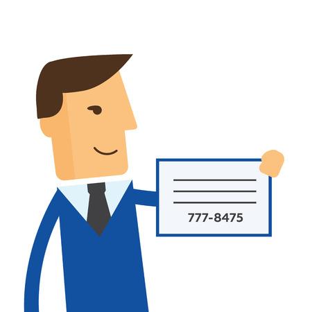 marketer: Businessman shows a business card vector Illustration