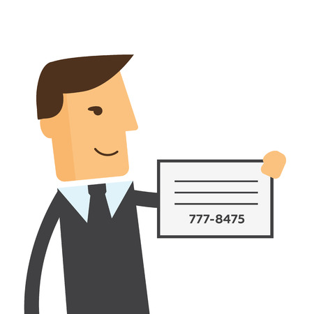 busness: Businessman shows a business card vector Illustration