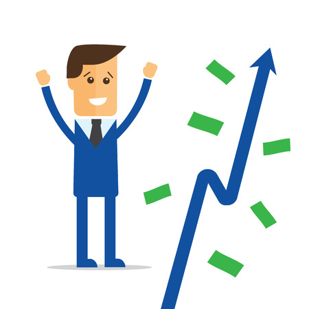 crop margin: Businessman and money tree vector