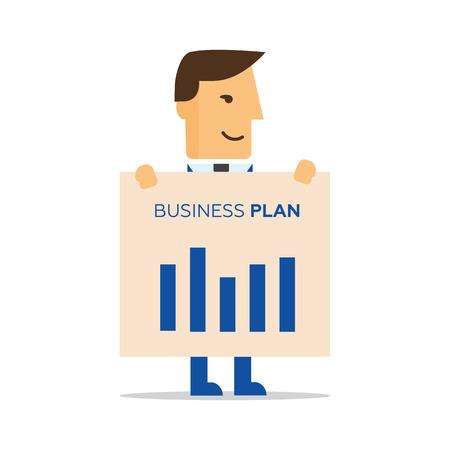 Businessman illustration of business plan Illustration