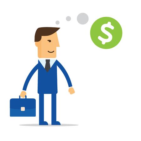 marketer: Businessman thinking about money vector