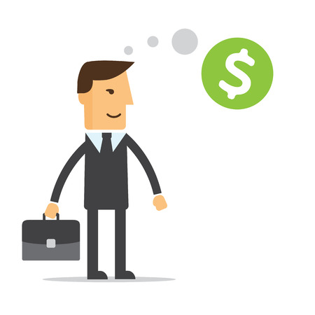 Businessman thinking about money vector
