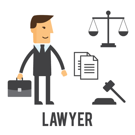 Lawyer concept icons in flat style Illustration