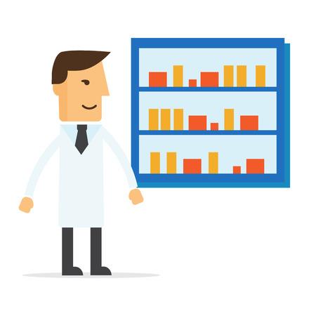 dispensary: Male pharmacist in a pharmacy opposite the shelves