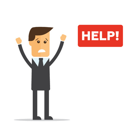 need direction: Businessmen with the word HELP