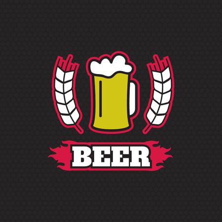 beer house: Vintage retro badge design template for beer house Illustration
