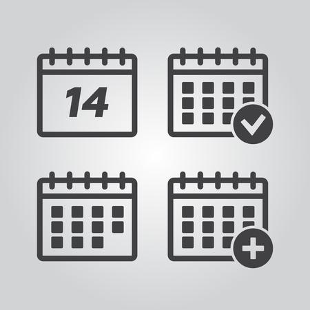 Vector Calendar Icons. Event add delete progress vector