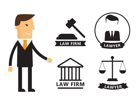 barrister: Lawyer concept. Lawyer icons in flat style. Lawyer sign and symbol