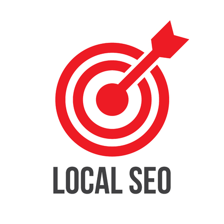 LOCAL SEO target concept flat vector illustration 矢量图像